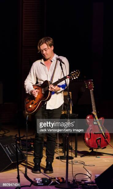 American AltCountry musician Parker Millsap plays guitar as he leads his band during a performance in the American Byways series at Carnegie Hall's...
