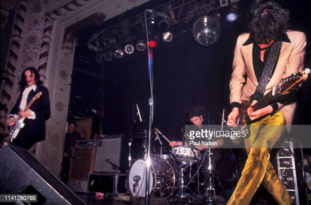 American Alternative and Punk Rock group Jon Spencer Blues Explosion perform onstage the Metro Chicago Illinois December 31 1997 Pictured are from...
