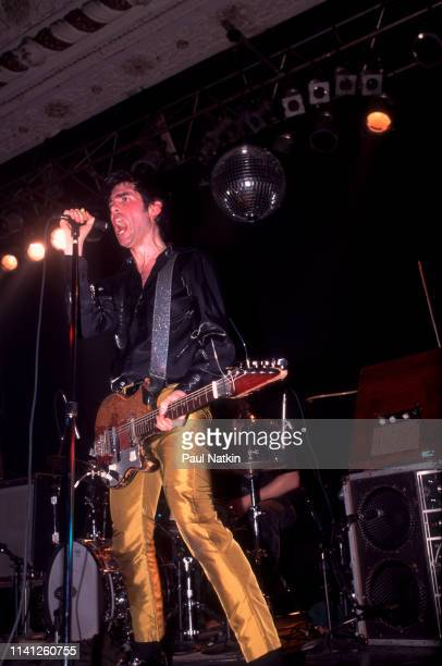 American Alternative and Punk Rock musician Jon Spencer of the group Jon Spencer Blues Explosion plays guitar as he performs onstage the Metro...