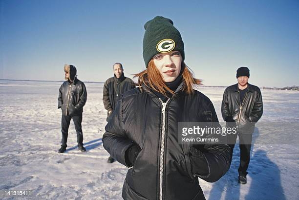American alternative rock band Garbage USA 2001 Left to right drummer/producer Butch Vig guitarist Duke Erikson singer Shirley Manson and guitarist...