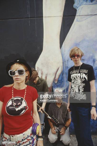 American alternative rock group Sonic Youth New York City 17th June 1992 Left to right singer and bassist Kim Gordon drummer Steve Shelley singer and...