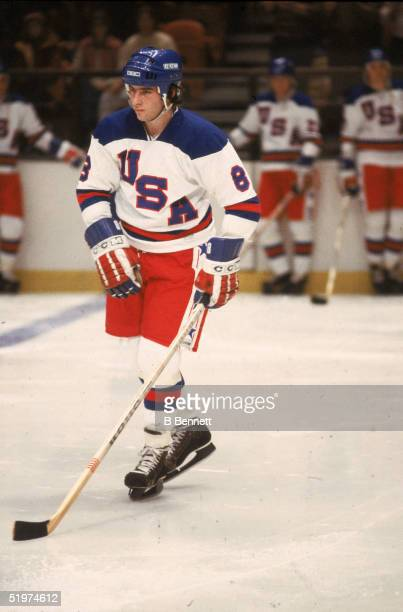 American amateur hockey player Dave Silk of Team USA on the ice during an 1980 exhibition game against the Soviet Union on February 9 1980 at the...