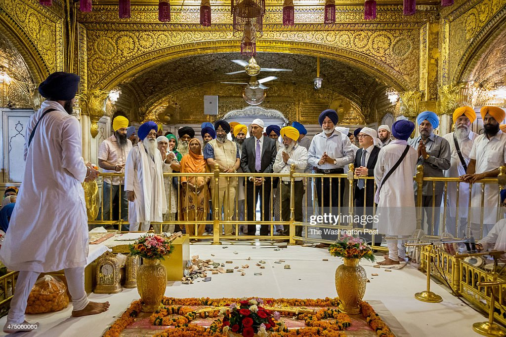 American Ambassador to India MrRichard Verma visiting the shrine at the Harmandir Sahi or `Golden Temple` the holiest Sikh gurdwara on May 20 2015 in.