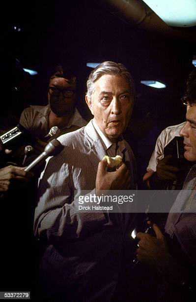 American Ambassador to Vietnam Graham Martin speaking to press aboard the USS Blue Ridge after the evacuation of American personnel from Vietnam...