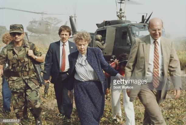 American ambassadors Jeane Kirkpatrick and Thomas R Pickering in El Salvador during the Salvadoran Civil War 1985