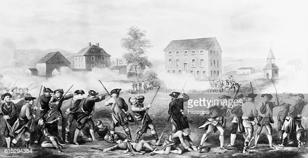 American and British soldiers fight at close range in the Battle of Lexington, Massachusetts, on April 19, 1775. This battle marked the start of the...