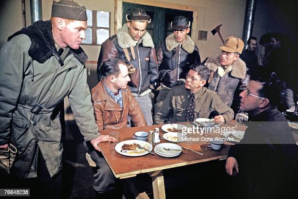 American and Canadian Airmen relax at the PX at a joint Royal Canadian Air Force and United States Army Air Force base in December 1942 in Goose Bay...
