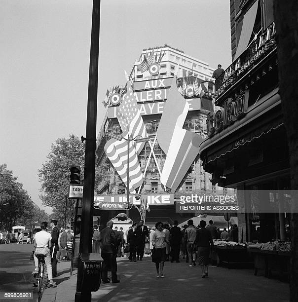 American and French Flags at the Galeries Lafayette for the Visit of the American President Dwight Eisenhower in Paris France in May 1960