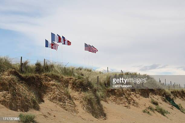 American and French flags over Utah Beach, Normandy
