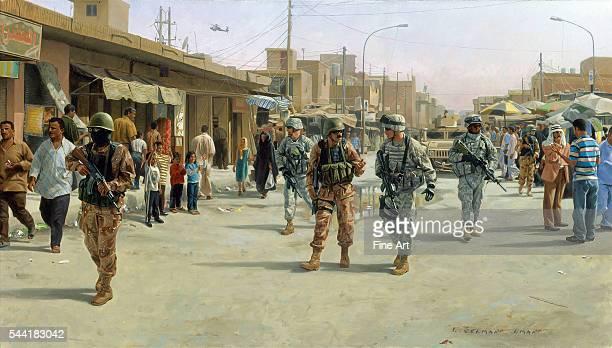 American and Iraqi troops patrol the Martyrs Market Mahmudiya Iraq during the Iraq War September 27 2005 Oil on canvas by I Selman Iman