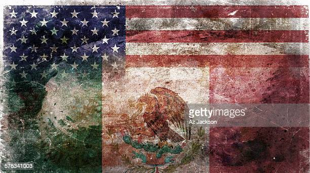 american and mexican flag - mexican flag stock pictures, royalty-free photos & images