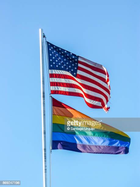 American and rainbow flags