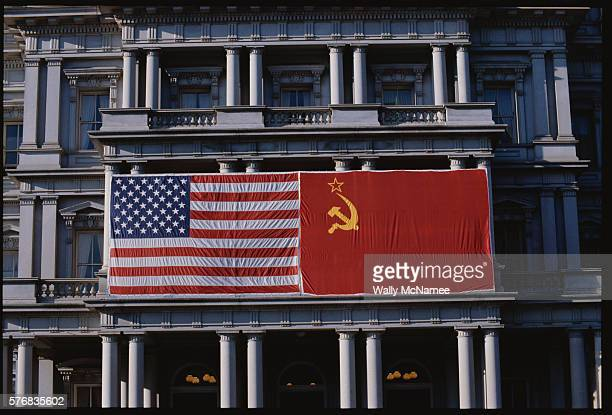 American and Soviet Flags on Building
