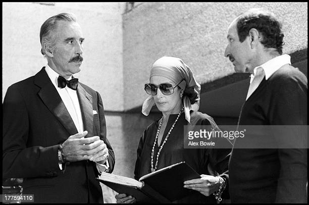 American animator and film director Ernest Pintoff directs British actor Christopher Lee and French actress Capucine on the set of 'Jaguar Lives'...