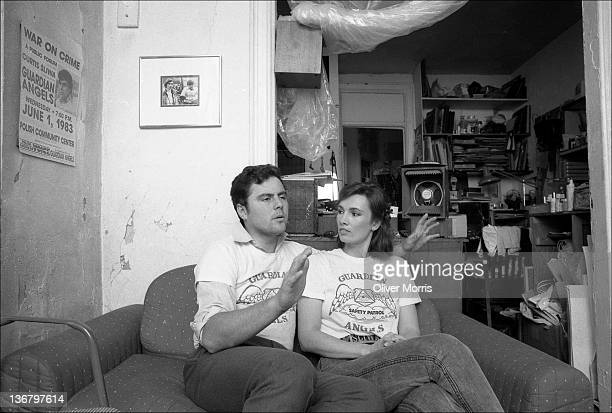 American anticrime activist and founder of the Guardian Angels Curtis Sliwa and his wife and fellow Guardian Angel Lisa Sliwa talk on a couch in...