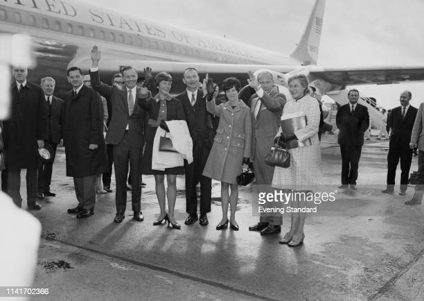 American Apollo 11 astronauts with their wives at Heathrow Airport London UK 23rd October 1969 Neil Armstrong Janet Armstrong Michael Collins Pat...