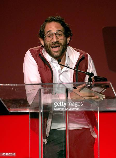 American Apparel's Dov Charney speaks at the LA Fashion Awards at the Orpheum Theatre on October 21 2005 in Los Angeles California