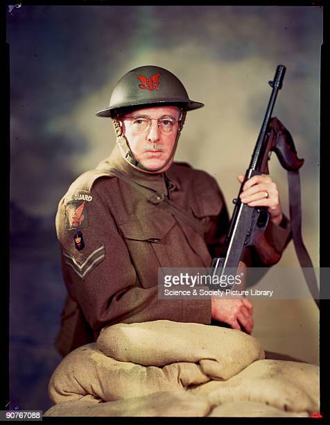American architect C Howard Crane in the uniform of a corporal in the 1st American Mobilized Squadron of the Home Guard a volunteer defence...
