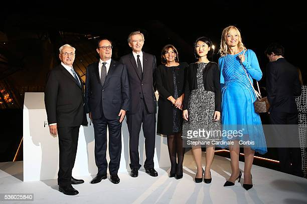American architect Frank Gehry French President Francois Hollande LVMH luxury group CEO Bernard Arnault Anne Hidalgo Fleur Pellerin and Helene...
