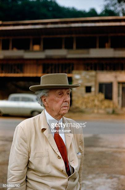 Architect Frank Lloyd Wright outside Taliesin his studio and school in Wisconsin | Location near Spring Green Wisconsin USA