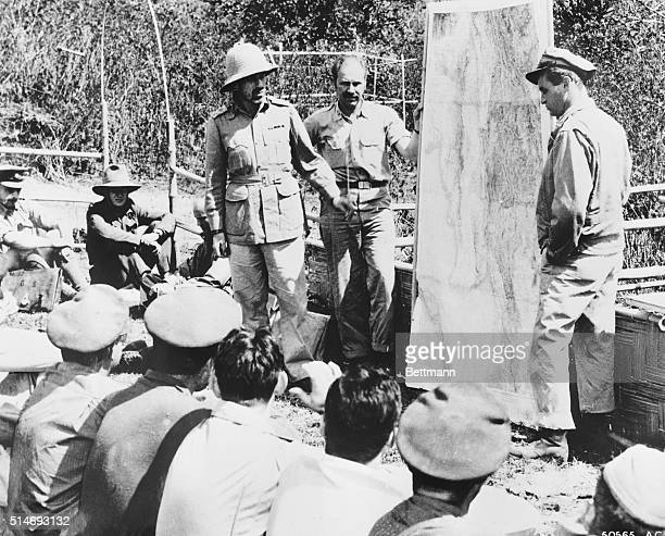 American Army Air Forces Colonel Philip Cochran leader of the first Air Commando Force and British Major General Orde Charles Wingate founder of the...