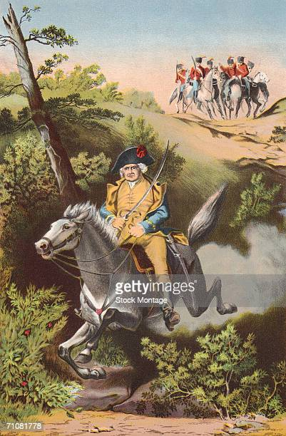 American army general Israel Putnam escapes from British troops commanded by General Tryon during the American Revolutionary War Horseneck Greenwich...
