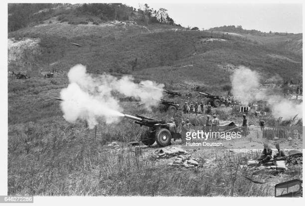 American Army in action against Vietcong from Hill Timothy