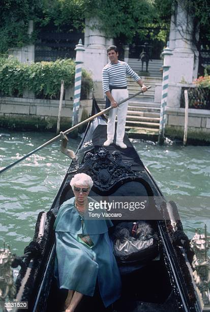 American art collector Peggy Guggenheim leaves in a gondola from her musem home located in the 'Palazzo Venier dei Leoni' on the Grand Canal Being...