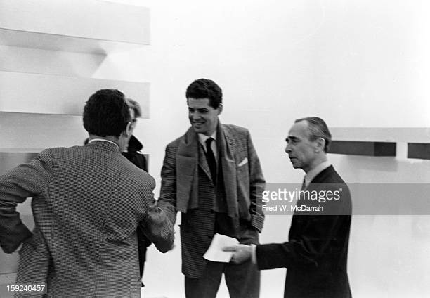 American art dealer Leo Castelli and others in a gallery New York New York February 6 1966
