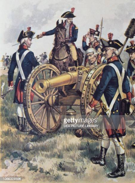 American artillery department with cannons at Monmouth American Revolutionary War USA 18th century