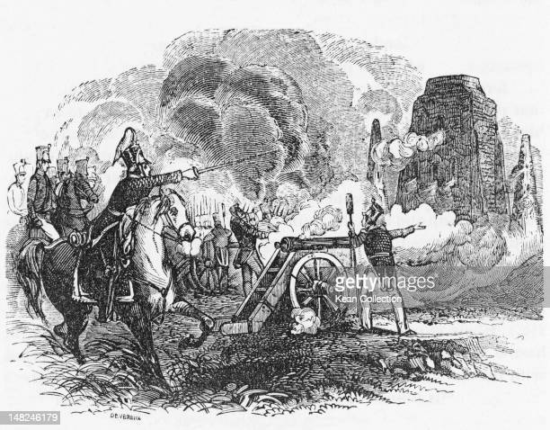 American artillery is deployed against Mexican forces defending the multistoried Pueblo structures at the Battle of Pueblo de Taos, during the...