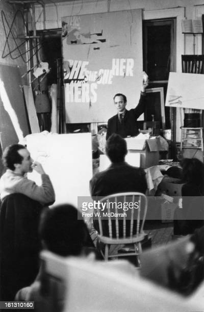 American artist Al Hansen performs a 'happening' in the form of an auction New York New York April 20 1965