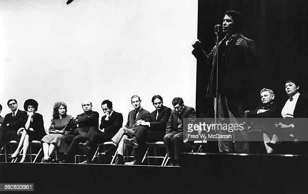 American artist and film director Alfred Leslie speaks during the Creative Film Foundation Awards at Cinema 16 New York New York January 25 1961...