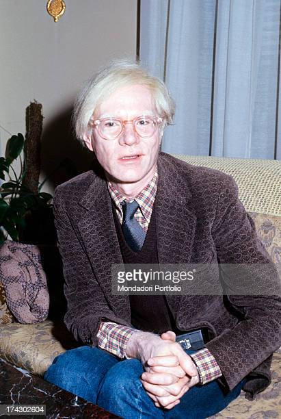 American artist Andy Warhol speaking during his exhibition set up in the National Gallery of Modern Art at Palazzo dei Diamanti Ferrara November 1975