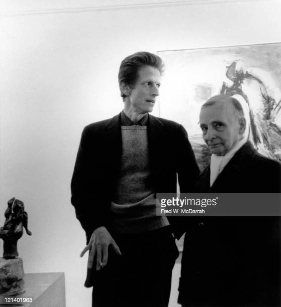 American artist David Hare attends an unidentified event at the Kootz Gallery New York New York December 2 1959