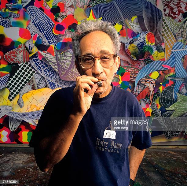 American artist Frank Stella poses for a May 1995 portrait at his studio in New York City New York