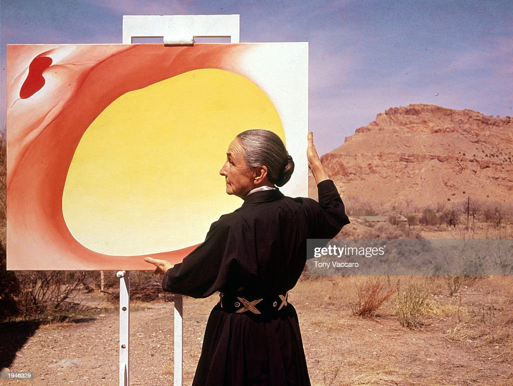 Georgia O'Keeffe With Painting In Desert, NM : News Photo