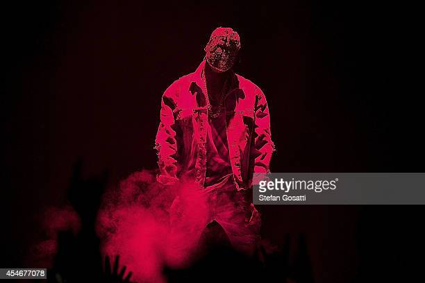 American artist, Kanye West performs during 'The Yeezus Tour' at Perth Arena on September 5, 2014 in Perth, Australia.