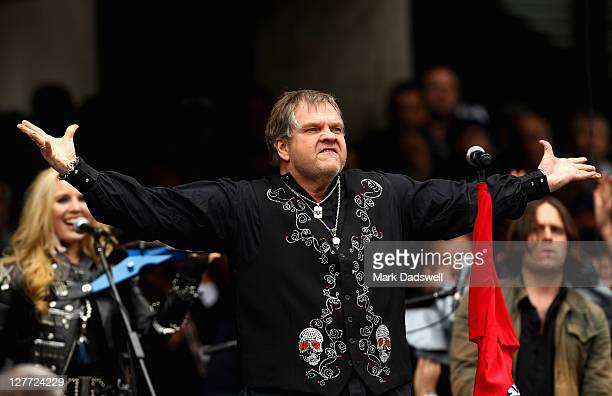 American artist Meat Loaf performs during the 2011 AFL Grand Final match between the Collingwood Magpies and the Geelong Cats at Melbourne Cricket...