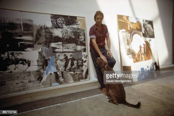 American artist Robert Rauschenberg with some of his works June 1969