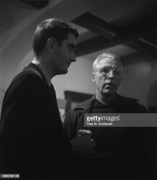 American artists Budd Hopkins and William H Littlefield talk together at the Nonagon Gallery New York New York January 25 1959 They were attending an...