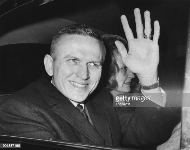 American astronaut Colonel Frank Borman Commander of the Apollo 8 mission leaves 10 Downing Street in London with his wife Susan after a visit to...