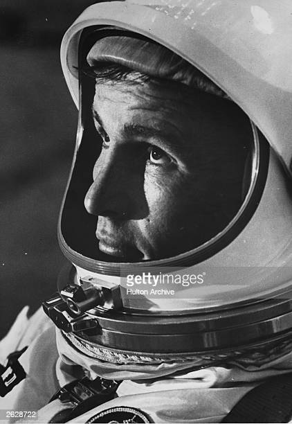 American astronaut Edward H White the first American to walk in space prepares for weight and balance tests at Cape Kennedy Florida