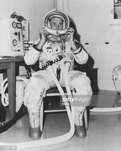 American astronaut Edward H White undergoing tests in the altitude chamber at the Kennedy Space Center Florida in preparation for the Apollo 1 manned...