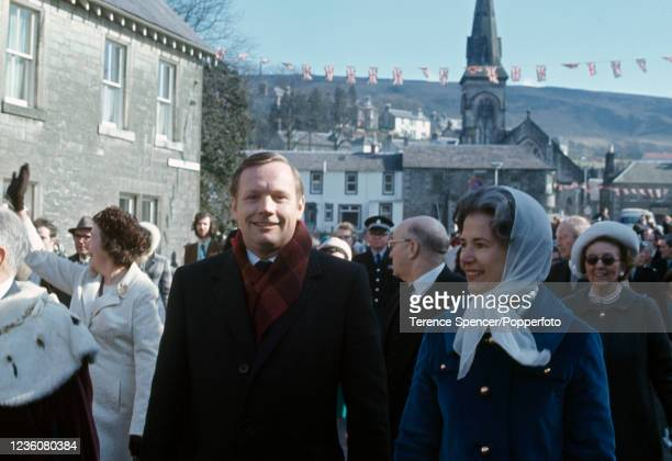 American astronaut Neil Armstrong and his wife Janet walking through Langholm, a town in Scotland which was home to Armstrong's ancestors, after he...