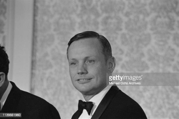 American astronaut Neil Armstrong at a dinner hosted by US President Richard Nixon at the Century Plaza Hotel in Los Angeles for the Apollo 11...