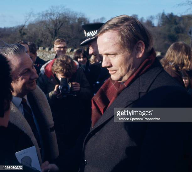 American astronaut Neil Armstrong walking through Langholm, a town in Scotland which was home to Armstrong's ancestors, after he became a Freeman of...