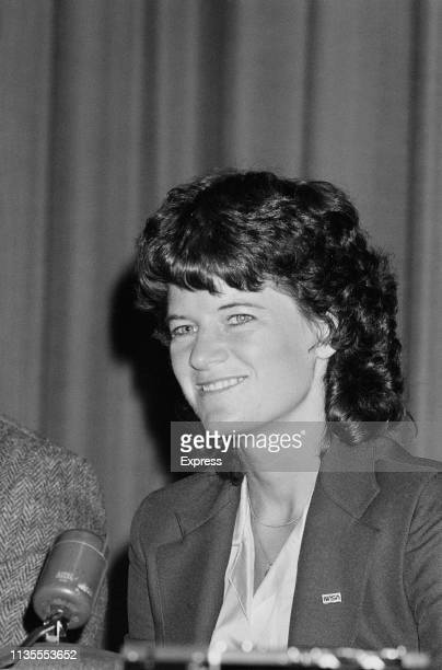 American astronaut physicist and engineer Sally Ride the first American woman in space as a crew member on space shuttle at a conference UK 26th...