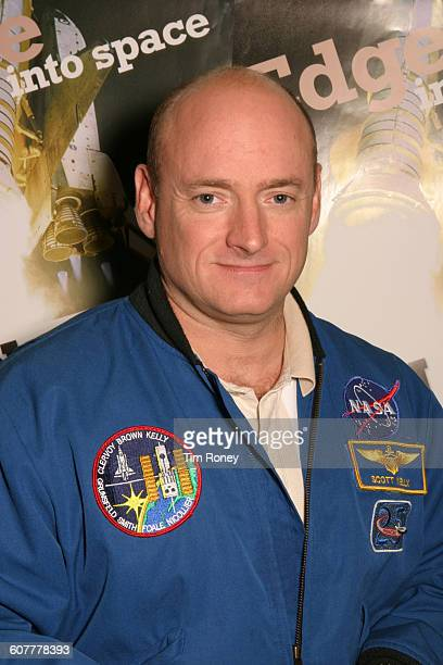 American astronaut Scott Kelly circa 2005 He is wearing the badge of the STS103 mission on the Discovery shuttle to service the Hubble Space Telescope