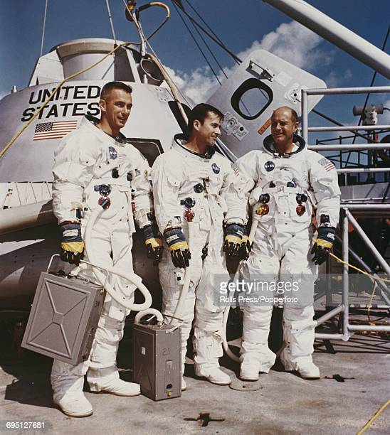American astronauts and crew of the Apollo 10 mission from left Lunar Module pilot Eugene Cernan Command Module pilot John Young and Commander Thomas...